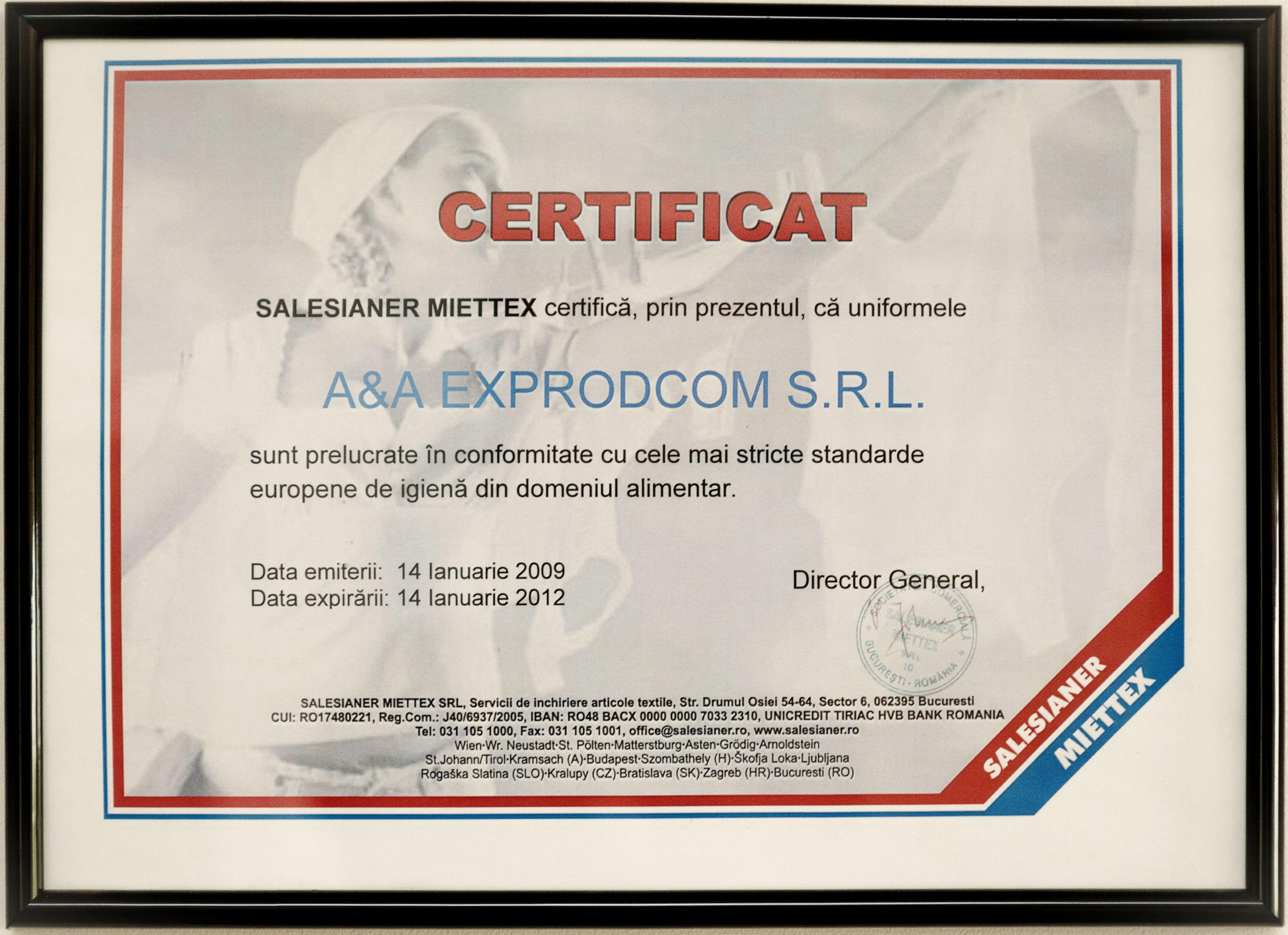 Certificare uniforme - 2012