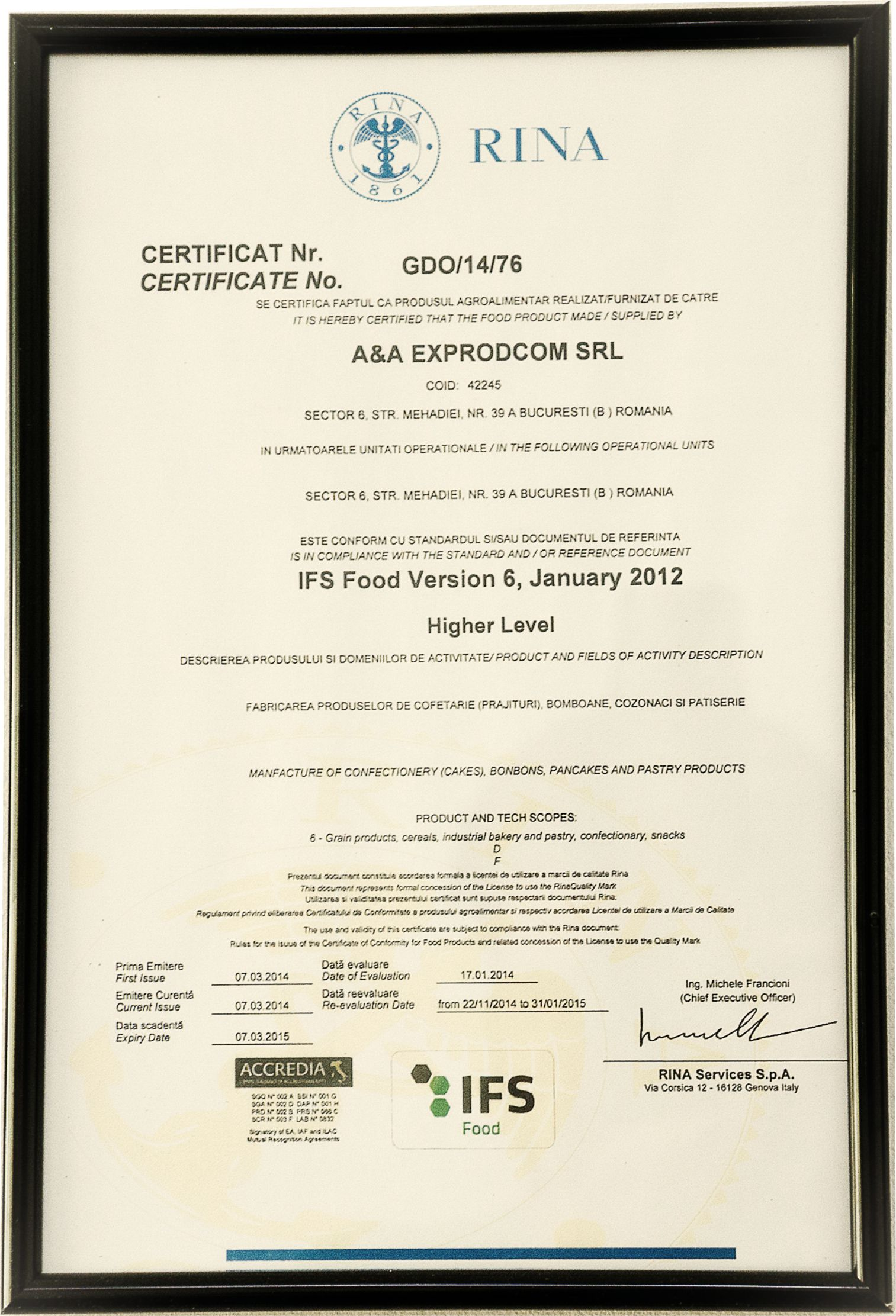 Certificate IFS - International Food Standard 2015