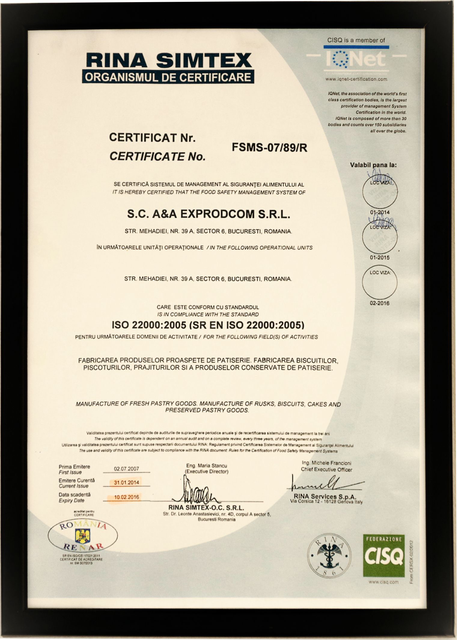 Certificate IFS - International Food Standard 2016
