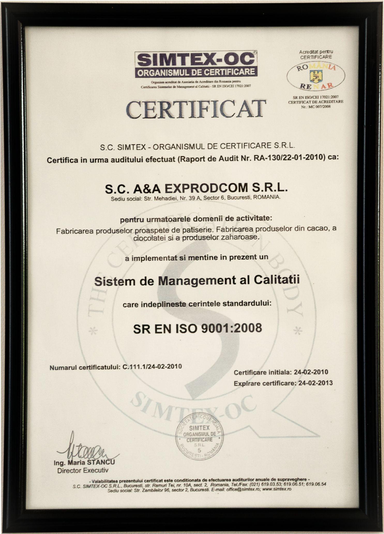Sistemul de Management al calitatii SR EN ISO 90012001 - 2013