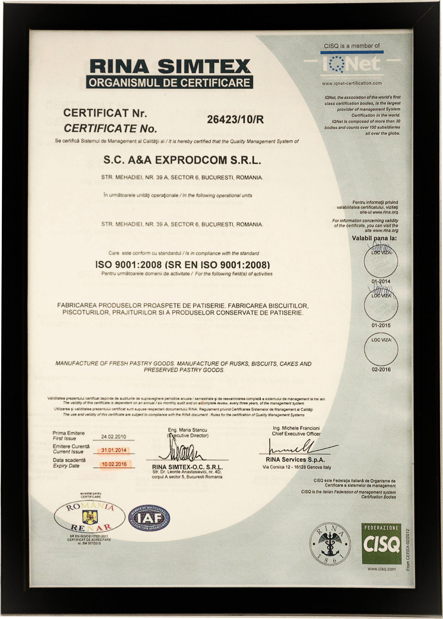 Sistemul de Management al calitatii SR EN ISO 90012001 - 2016