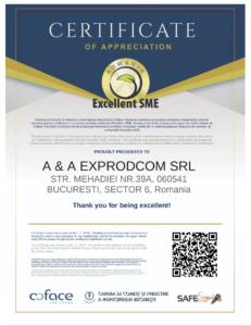 Excellent SME Certificat